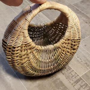 EUC Small Tri Color Oval Wicker Basket/Bag